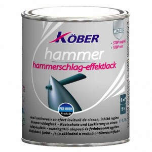 Vopsea alchidica pentru metal Kober Hammer, efect lovitura de ciocan, interior / exterior, rosu bordeaux E81200, 0.75 L