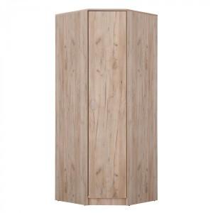 Dulap dormitor Hana pe colt, stejar gri, o usa, 80 x 80 x 205 cm, 2C