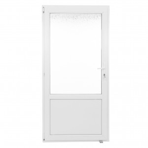 Usa exterior din PVC cu geam termopan 2/3, Far Est Weiss tip 2, 3 camere, prag PVC, stanga, alb, 97 x 197 cm