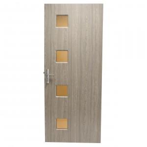 Usa de interior din lemn cu geam Super Door F16-68-P stanga / dreapta gri 203 x 68 cm
