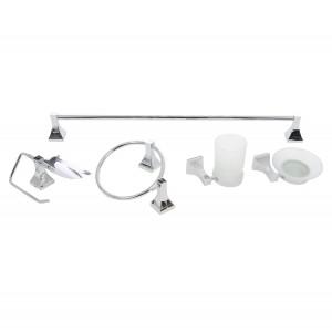 Set accesorii pentru baie, Piramis SWB0900, cromat, 6 piese