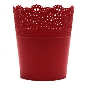 Ghiveci din plastic Lace, rosu D 16 cm
