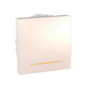 Intrerupator simplu cu indicator luminos Schneider Electric Unica MGU3.201.25S, incastrat, modular - 2, fildes