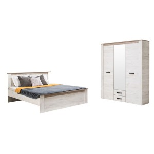 Dormitor Kent, pat + dulap 3K2FO, stejar alb + stejar gri, 7C