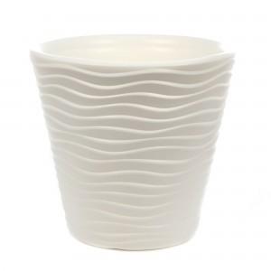 Ghiveci din plastic Wave, alb D 40 cm