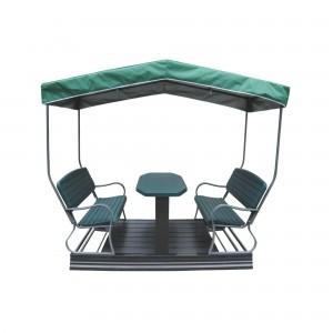 Set masa cu 2 banci si pavilion, pentru gradina, YX-H125FW,  structura metalica
