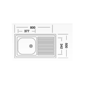 Chiuveta bucatarie inox anticalcar Doruq 1602 cuva pe stanga 80 x 50 cm