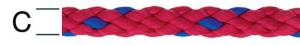 Sfoara polipropilena, rosu + albastru, 6 mm