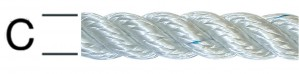 Sfoara poliamida, alba, 8 mm