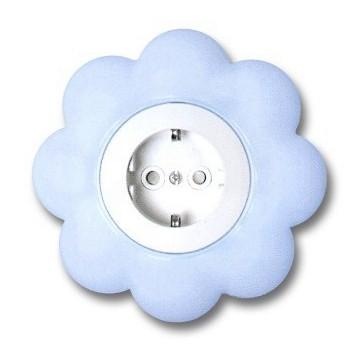 Priza simpla Metalka-Majur Happy 1636052, incastrata, rama inclusa, contact de protectie, alba cu bleu, floare