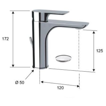 Baterie baie pentru lavoar, Remer I10DO, montaj stativ, monocomanda, finisaj auriu, cu ventil