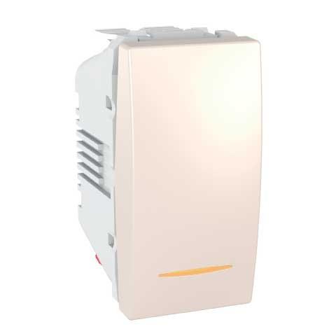 Intrerupator simplu cu indicator luminos Schneider Electric Unica MGU3.101.25S, incastrat, modular - 1, fildes