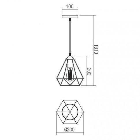 Suspensie Krill 01-1388, 1 x E27, negru mat