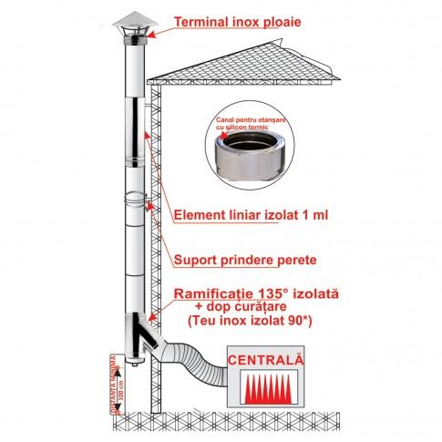 Cos de fum din inox izolat, sistem complet, D 130/180 mm, H 6.5 m