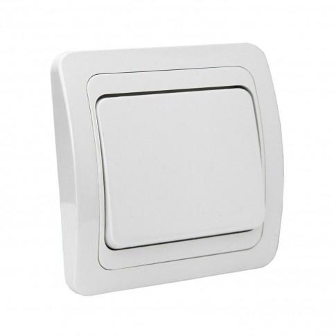 Intrerupator simplu Comtec Eco Premium MF0012-06001, incastrat, ceramica, rama inclusa, alb