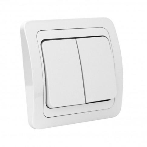 Intrerupator dublu Comtec Eco Premium MF0012-06005, incastrat, ceramica, rama inclusa, alb