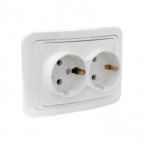 Priza dubla Comtec Eco Premium MF0012-06043, incastrata, rama inclusa, contact de protectie, alba