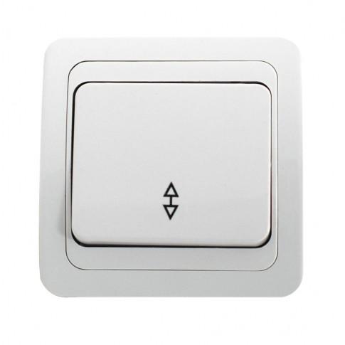 Intrerupator cap scara simplu Comtec Eco Premium, MF0012-06020, incastrat, ceramica, rama inclusa, alb