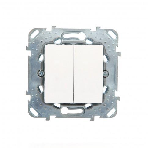Intrerupator dublu Schneider Electric Unica MGU50.211.18Z, incastrat, alb