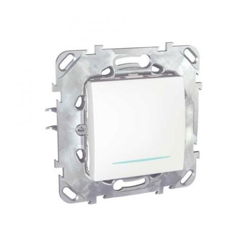 Intrerupator simplu cu indicator luminos Schneider Electric Unica MGU50.201.18NZ, incastrat, alb