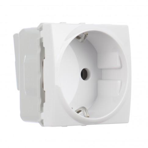 Priza simpla Schneider Electric Unica MGU3.036.18, incastrata, modulara - 2, contact de protectie, alba