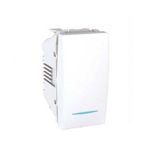 Intrerupator simplu cu indicator luminos Schneider Electric Unica MGU3.101.18N, incastrat, modular - 1, alb
