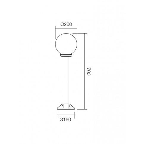 Stalp de iluminat ornamental Sfera 1 9769, 1 x E27, H 70 cm, D 20 cm, opal