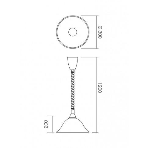 Suspensie cu fir mobil Virginia 05-369, 1 x E27, D 300 mm, H 1200 mm, maro