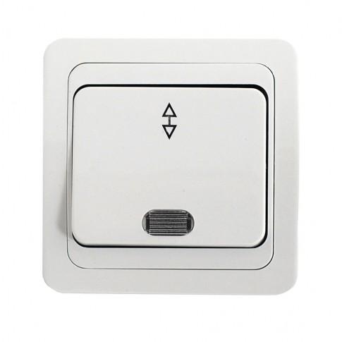 Intrerupator cap scara cu indicator luminos Comtec Eco MF0012-05234, incastrat, ceramica, rama inclusa, alb