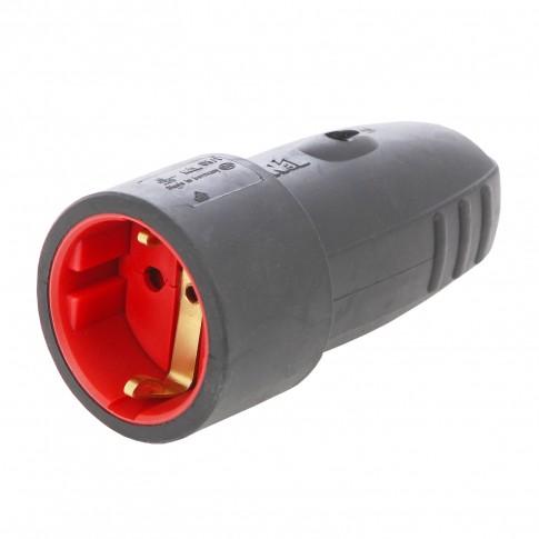 Cupla cauciuc cu impamantare N&L 40553L, IP44, neagra, cu protectie flambaj, 16 A, 250 V