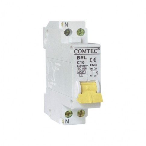 Intrerupator automat modular Comtec BRL 16834, 1P+N, 10A, curba C