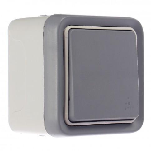 Intrerupator cap scara simplu Legrand Plexo 069711E, aparent, rama inclusa, gri, IP55