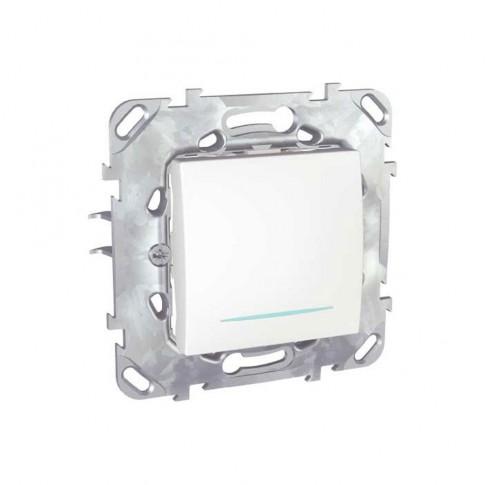 Intrerupator cap scara simplu cu indicator luminos Schneider Electric Unica MGU50.203.18NZ, incastrat, alb