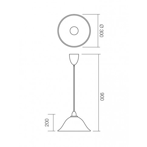 Suspensie cu fir fix Virginia 05-364, 1 x E27, D 300 mm, H 900 mm, alba