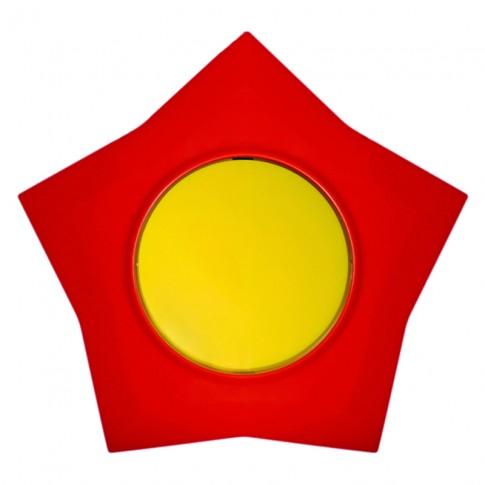 Intrerupator simplu Metalka-Majur Happy 1641001, incastrat, rama inclusa, stea, galben cu rosu
