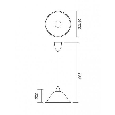 Suspensie cu fir fix Virginia 05-365, 1 x E27, D 300 mm, H 900 mm, maro