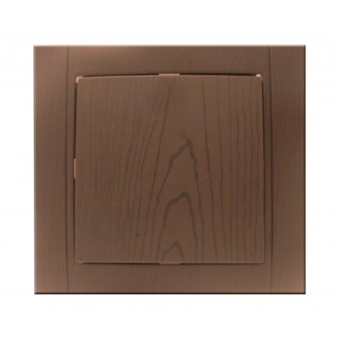 Intrerupator simplu Comtec Anemon, incastrat, rama inclusa, stejar inchis