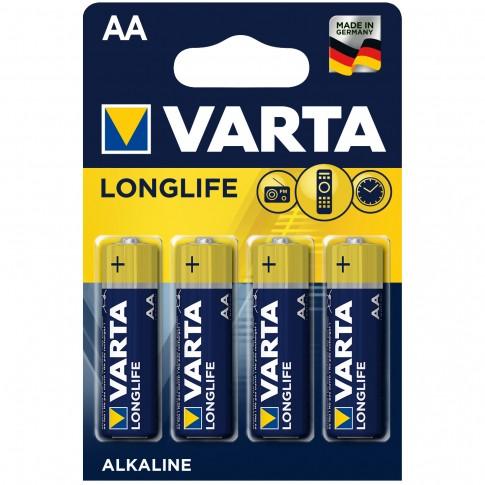 Baterie Varta Longlife 4106, AA / LR6, 1.5V, alcalina, 4 buc