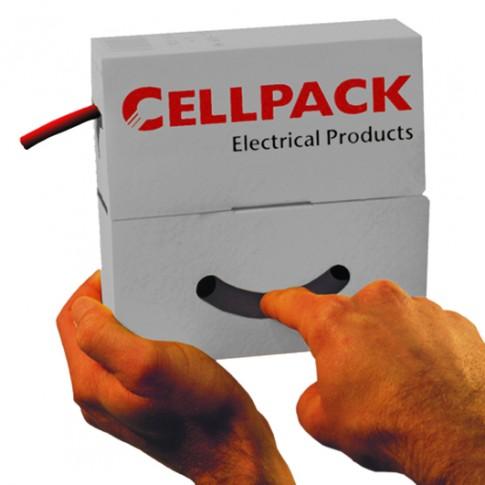 Tub termocontractabil subtire Cellpack 127139, tip SB, fara adeziv, negru, 24 - 8 mm, rola 4 metri