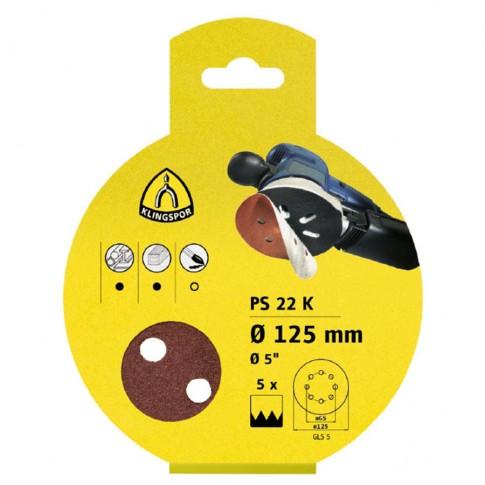 Disc abraziv cu autofixare, pentru lemn / metale, Klingspor PS 22 K 241627, 125 mm, granulatie 120, set 5 bucati