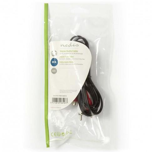 Cablu audio stereo Nedis CAGP24205BK20, 2 x RCA tata - 2 x RCA mama, 2 m, negru