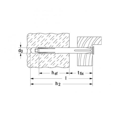 Diblu metalic pentru rame, F 10 M,  10 x 202 mm, cu surub