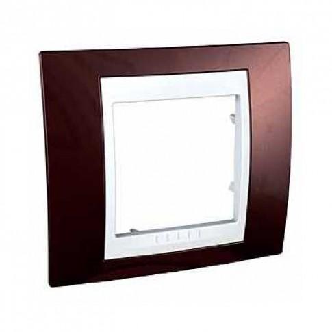 Rama Schneider Electric Unica Plus MGU6.002.851, 1 post, caramiziu / alba, pentru priza / intrerupator