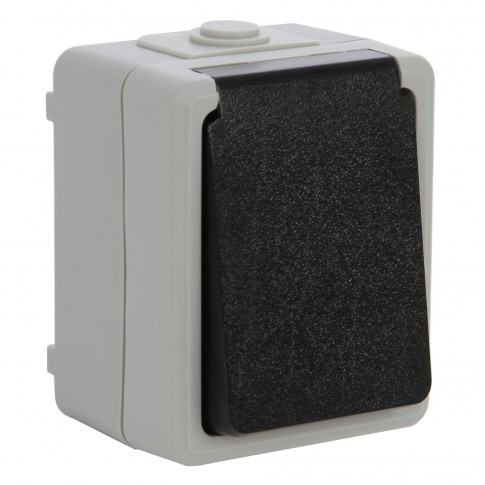 Priza simpla Unitec 46244L, aparenta, cu capac, contact de protectie, gri