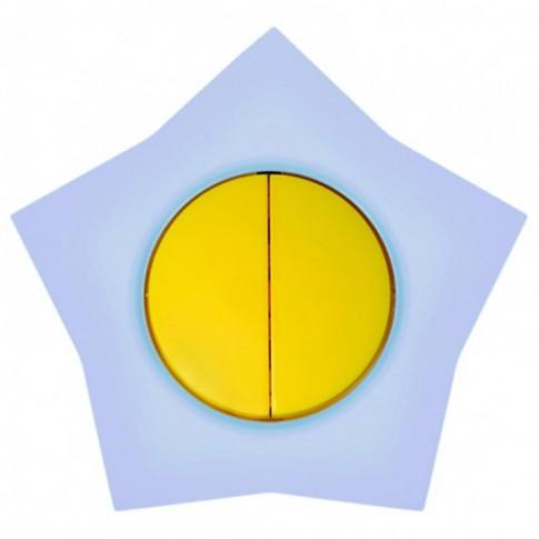 Intrerupator dublu Metalka-Majur Happy 1642004, incastrat, rama inclusa, stea, galben cu bleu
