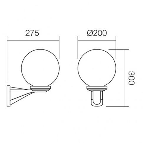 Aplica exterior Sfera 9788, 1 x E27, fumurie, D 200 mm