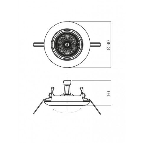 Spot incastrat ELC 3072 70158, GU10, orientabil, negru