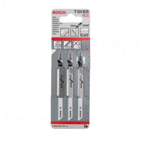 Panze fierastrau vertical, pentru lemn, Bosch Clean for Wood, T 101 BR, 2608633779, set 3 bucati