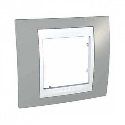 Rama Schneider Electric Unica Plus MGU6.002.865, 1 post, gri / alba, pentru priza / intrerupator