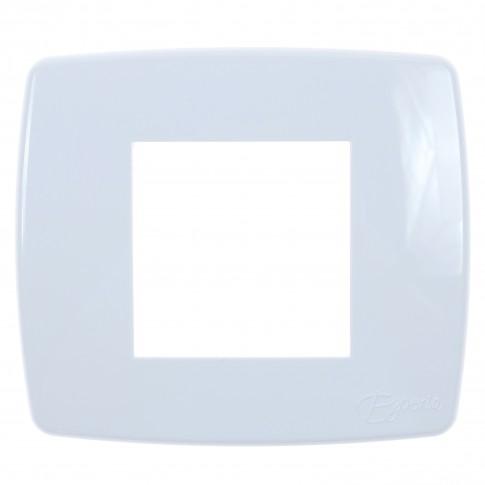 Rama Esperia 300554-01, 2 module, alba, pentru priza / intrerupator
